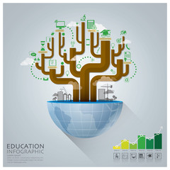 Global Education With Tree Diagram Creative Concept Infographic