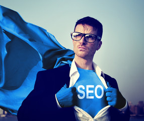 Strong Superhero Businessman SEO Concepts