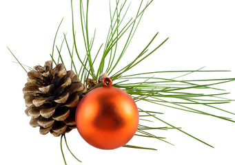 Pine cone ball and pine branch