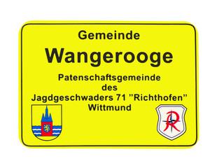 Wangerooge Ortsschild Patengemeinde