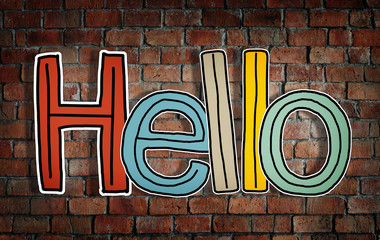 Word Hello on Brick Wall Background