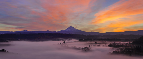 Pre Sunrise Over Mount Hood Early Autumn Morning Panorama