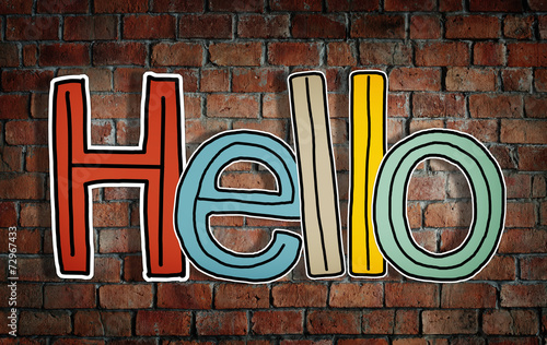 Leinwanddruck Bild Word Hello on Brick Wall Background