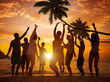 Diverse People Partying on a Tropical Beach