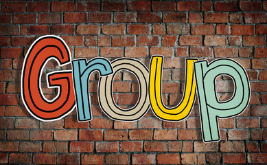 Word Group on a Brickwall Background
