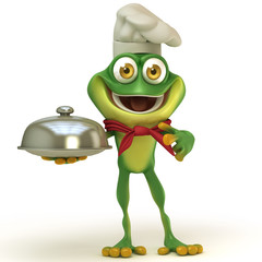 Frog chef with cloche