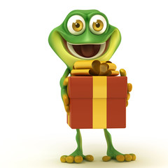 Frog with big gift box