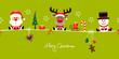 Card Santa, Rudolph & Snowman Symbols Light Green