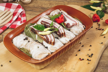 Cabbage rolls stuffed with rice and meat, prepared for cooking