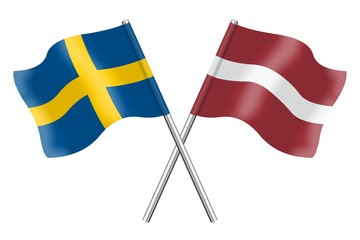 Flags: Sweden and Latvia