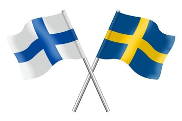 Flags: Finland and Sweden