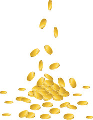Gold coins falling to the ground
