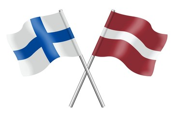 Flags: Finland and Latvia