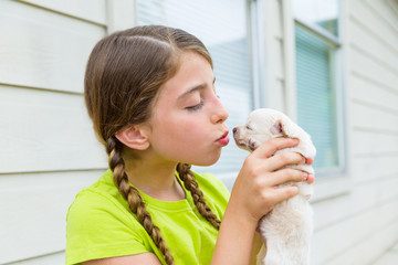 Girl playingkissing puppy chihuahua pet dog
