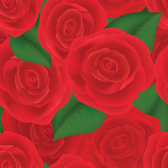 red roses with green leaves seamless background