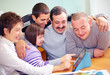 group of happy people with disability having fun with tablet - 72969683