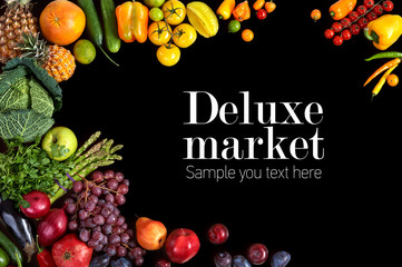 Healthy eating background. Deluxe market