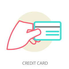 Hand holding credit card, vector
