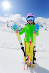 Skiing - happy winter vacation