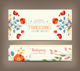 Floral background thanksgiving greeting card
