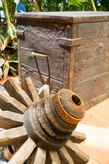 Thai cartwheel with wooden chest for home decoration