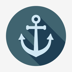 Anchor icon with long shadow.  Pirates and sea.