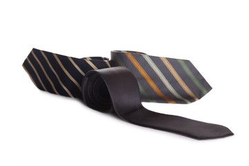 rolled neck ties isolated