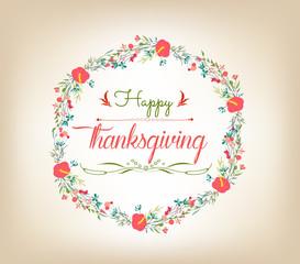 happy Thanksgiving florals wreath Colors