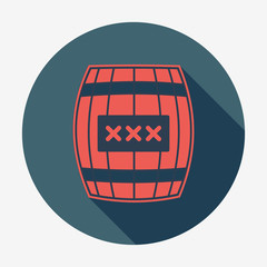 Pirate icon with long shadow, cask or barrel.