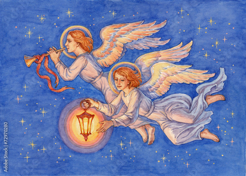 Leinwandbild Motiv Рождественские ангелы, акварель.