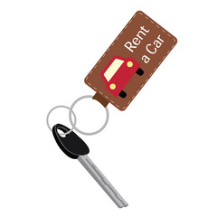 car key in a key chain. vector illustration