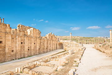 View of Hippodrome and Oval Forum in Jerash, Jordan