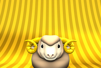 Smile Brown Sheep On Golden Text Space