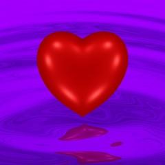 rotes Herz vor violettem Hintergrund