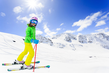 Skiing, downhill - skier on mountainside