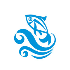 Fish and wave vector illustration. Vector logo template.