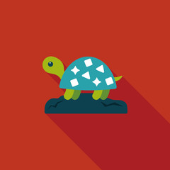 Pet turtle flat icon with long shadow,eps10