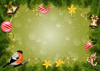 новогодний фон -фоторамка с украшениями и снегирем