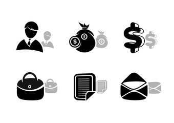 Icons set in black for business and finances