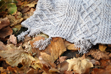 Knitted poncho in autumn park