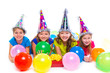 Happy kid girls birthday party balloons and gift