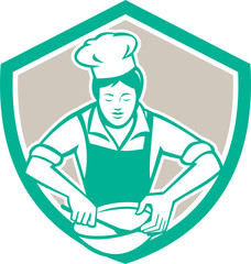 Female Chef Mixing Bowl Shield Retro