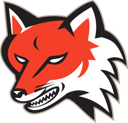 Red Fox Angry Head Retro