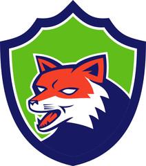 Red Fox Head Growling Shield Retro