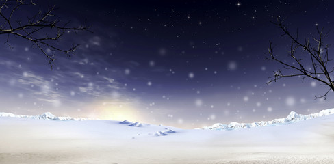 Mary Christmas and Snow Background