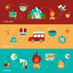Camping flat banner