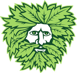 Green Man Front Isolated