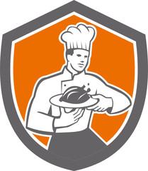 Chef Cook Serving Chicken Platter Shield Retro