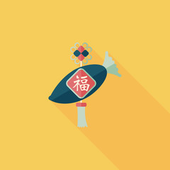 Chinese New Year flat icon with long shadow,eps10, lucky white r