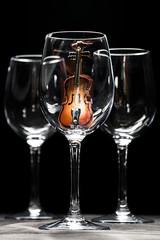 Violin in wine glass